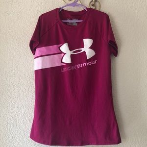 Under Armour Girls Fuchsia Logo Top
